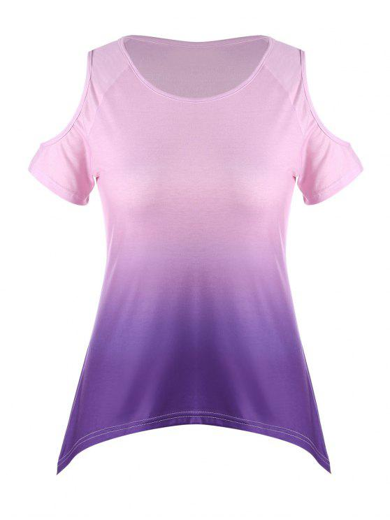 a842a8ae90f6 30% OFF] 2019 Ombre Plus Size Asymmetric Cold Shoulder T-shirt In ...
