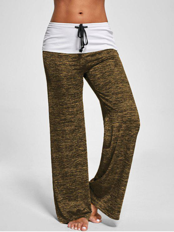 outfit Foldover Heather Wide Leg Pants - BROWN M