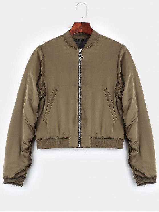 sale Puffer Zip Up Bomber Jacket - KHAKI L