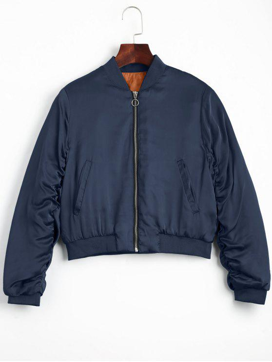 lady Puffer Zip Up Bomber Jacket - PURPLISH BLUE L