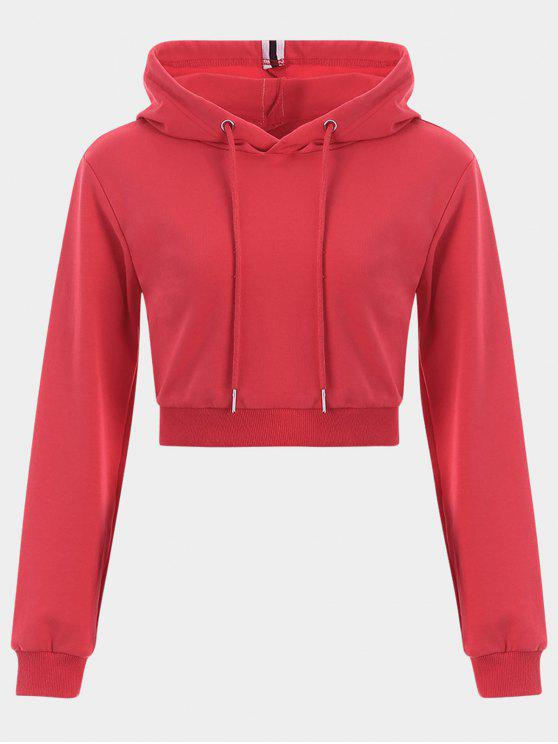 outfits Cropped Drawstring Sports Hoodie - RED L