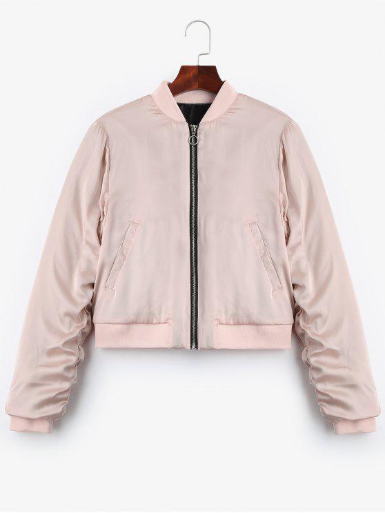 latest Puffer Zip Up Bomber Jacket - PINK M