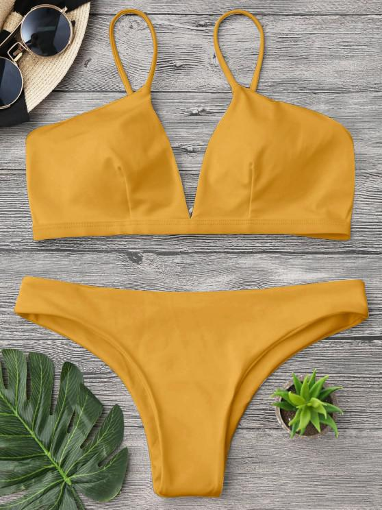 trendy Padded Cami Plunge Bathing Suit - YELLOW M