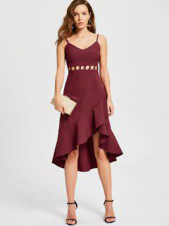 Ruffle Cutout Slip Semi Formal Dress - Wine Red L