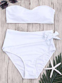 High Waisted Knotted Bandeau Bikini Set - White M
