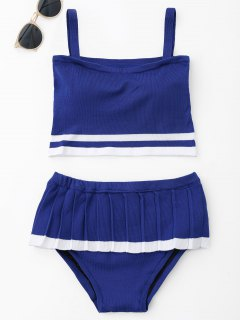 Two Tone Ruffle Knit Bikini Set - Blue