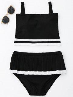 Two Tone Ruffle Knit Bikini Set - Black