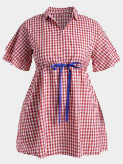 Plus Size Drawstring Checked Dress - Red 3xl