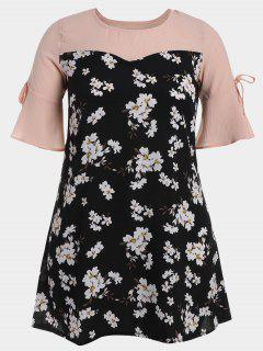 Flare Sleeve Floral Patchwork Plus Size Dress - Floral 3xl