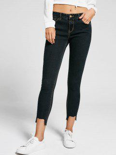 Skinny High Low Hem Pencil Jeans - Black 28