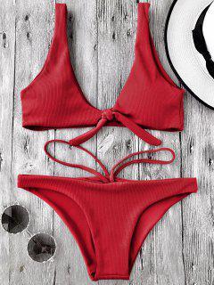 Ensemble De Bikini Texturé Noué Col Bas - Rouge S