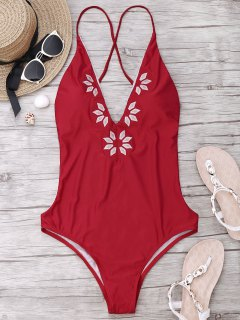 Embroidered Cami One Piece Swimwear - Red L