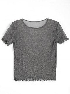 Shiny Ruffles See Thru Top - Deep Gray M