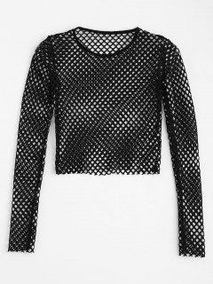 Cropped Sheer Mesh Top - Black M