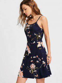 Floral Slip Mini A Line Dress - Purplish Blue Xl