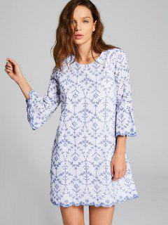 Embroidered Flare Sleeve Mini Dress - Blue And White L