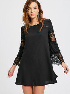 Long Sleeve Lace Panel Dress - Black Xl