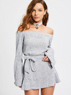 Mini Robe Épaules Dénudées à Manches Longues Avec Ceinture - Gris M