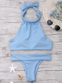 Ribbed High Neck Bikini Set - Light Blue L
