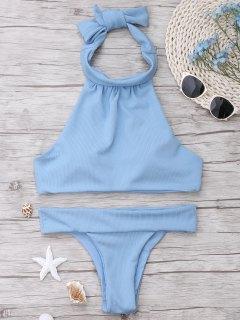 Ribbed High Neck Bikini Set - Light Blue S