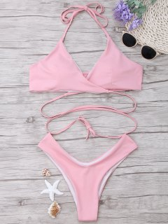 Gepolsterter Halter-Wickel-Bikini-Set - Pink L
