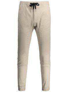 Casual Drawstring Jogger Pants - Light Khaki 38