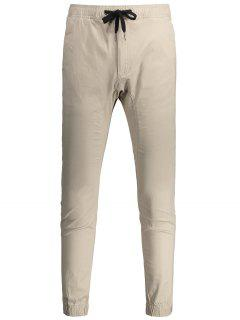 Casual Drawstring Jogger Pants - Light Khaki 34