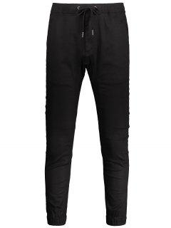 Casual Drawstring Jogger Pants - Black 32