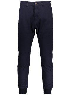 Men Casual Zip Fly Jogger Pants - Purplish Blue 34