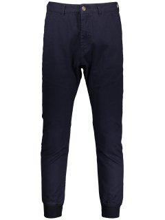 Men Casual Zip Fly Jogger Pants - Purplish Blue 32