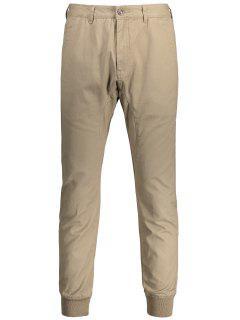 Men Casual Zip Fly Jogger Pants - Light Khaki 32