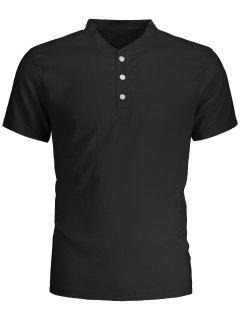 Men Short Sleeve Polo Shirt - Black L