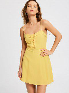 Smocked Panel Lace Up Slip Dress - Yellow L