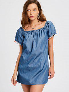 Overlay Tassels Off Shoulder Mini Dress - Denim Blue L