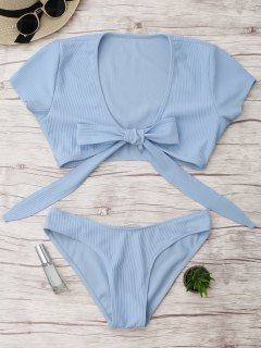 Knot Front High Cut Bathing Suit - Light Blue M