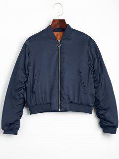 Puffer Zip Up Bomber Jacket - Purplish Blue S