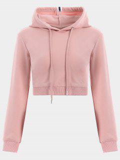 Cropped Drawstring Sports Hoodie - Pink L