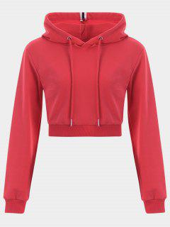 Cropped Drawstring Sports Hoodie - Red S