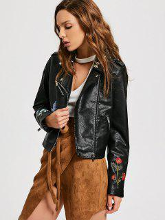 Floral Patched Zippered Faux Leather Jacket - Black M