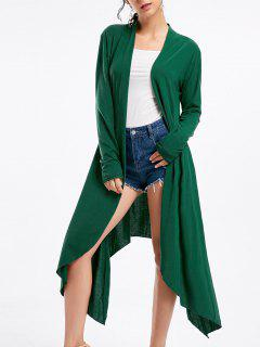Open Front Long Sleeve High Low Cardigan - Deep Green M
