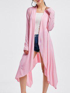 Open Front Long Sleeve High Low Cardigan - Pink S