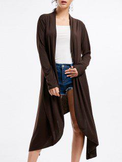 Open Front Long Sleeve High Low Cardigan - Coffee 2xl