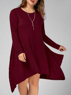 Plus Size Long Sleeve Asymmetric Dress With Pockets - Wine Red 4xl