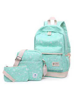 3 Pieces Canvas Star Print Backpack Set - Green