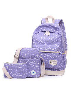 3 Pieces Canvas Star Print Backpack Set - Purple