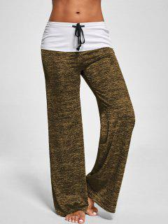 Foldover Heather Wide Leg Pants - Brown M
