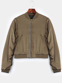 Puffer Zip Up Bomber Jacket - Khaki L