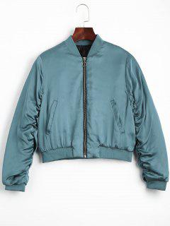 Puffer Zip Up Bomber Jacket - Lake Blue M