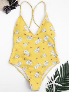 Traje De Baño Con Cuello Alto De Corte Cruzado Floral - Amarillo L