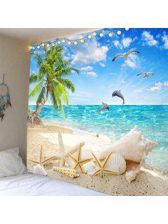 Tapis Imperméable à L'eau De Coco Palm Beach Seascape - Bleu Clair Largeur 79pouces*longeur 59pouces